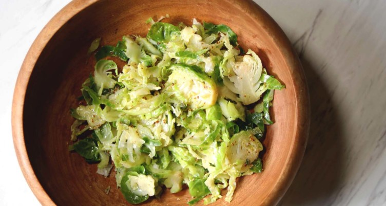 Bulletproof Diet Recipes on the Two-week Bulletproof Diet Protocol_Shaved Brussels Sprouts Salad With Lemon Thyme Vinaigrette