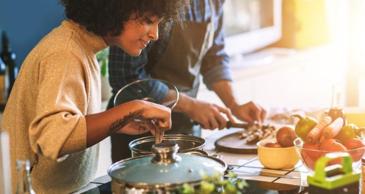 Couple preparing dinner
