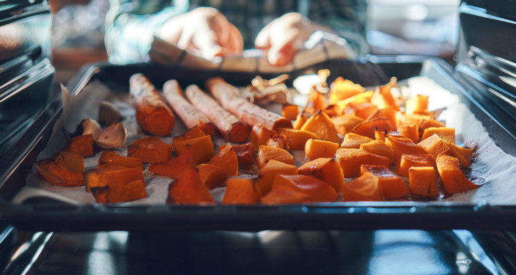 roasting carrots and sweet potatoes