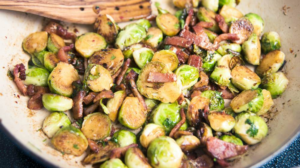 organic brussels sprouts sauteed with bacon   Planning A Keto Thanksgiving Feast? Enjoy The Holidays Without Sacrificing Your Diet   keto thanksgiving   keto friendly thanksgiving