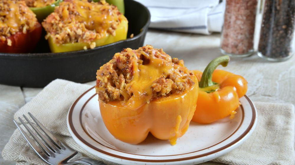 yellow bell pepper stuffed with a turkey, rice, quinoa mixture | Anti-inflammatory Diet Meal Plan for the Holidays | anti inflammatory diet meal plan | anti-inflammatory diet recipes